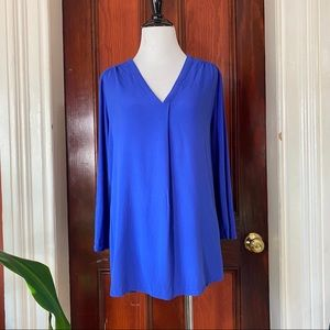 Pleione royal blue v-neck high/low blouse